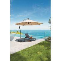 Hespéride - Parasol rond avec pied mat décentré en aluminium Bugara sable