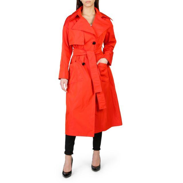781efa65cb09 Buzzao - Trench femme rouge long ceinturé à la taille - pas cher Achat   Vente  Manteau femme - RueDuCommerce