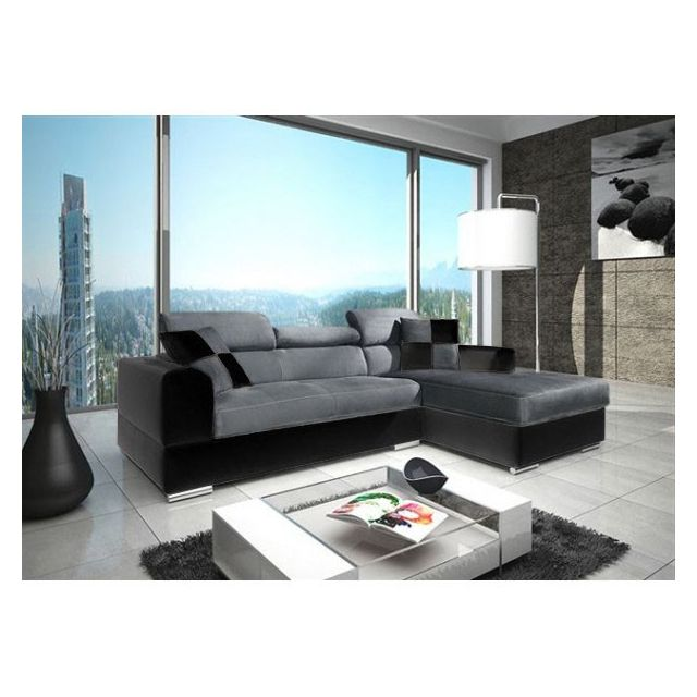 meublesline canap dangle 4 places neto design gris et noir microfibre pas cher - Canape Moderne Pas Cher