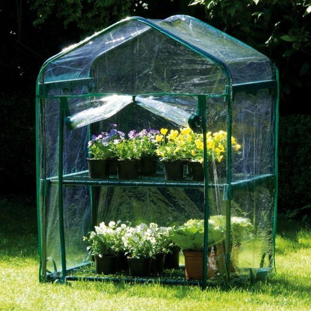 Maison futee mini serre d 39 int rieur 2 niveaux pas cher achat vente serres en plastique - Serre de jardin carrefour ...