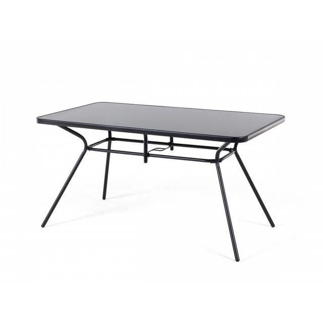 Table de jardin métalique noire avec plateau rectangulaire 140x80 cm - Livo