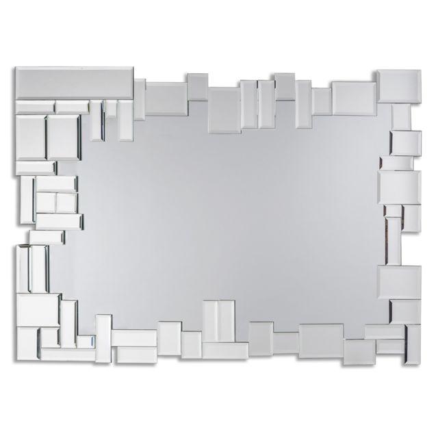 Dekoarte E063 - Miroir mural décoratif moderne, avec un cadre décoré et des cristaux dans différents plans 100x70cm