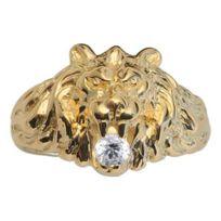 1001BIJOUX - Chevalière lion vermeil et pierre oxyde blanche - gros modèle