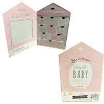 Touslescadeaux - Grand Coffret Souvenirs de Naissance Bébé forme Maison - 9 Boîtes - Fille