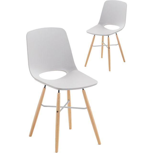 COMFORIUM Lot de 2 chaises gris scandinave en