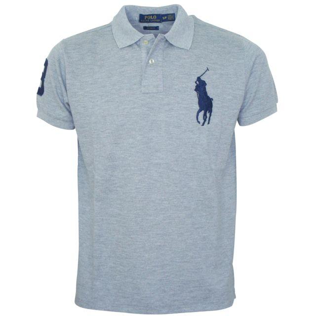 Ralph Lauren - Polo basic gris custom fit big pony - pas cher Achat   Vente  Polo homme - RueDuCommerce 3f3c9d72ae71