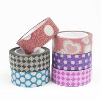 Ammi - Masking Tape pailleté 15 mm 6 rubans Motifs