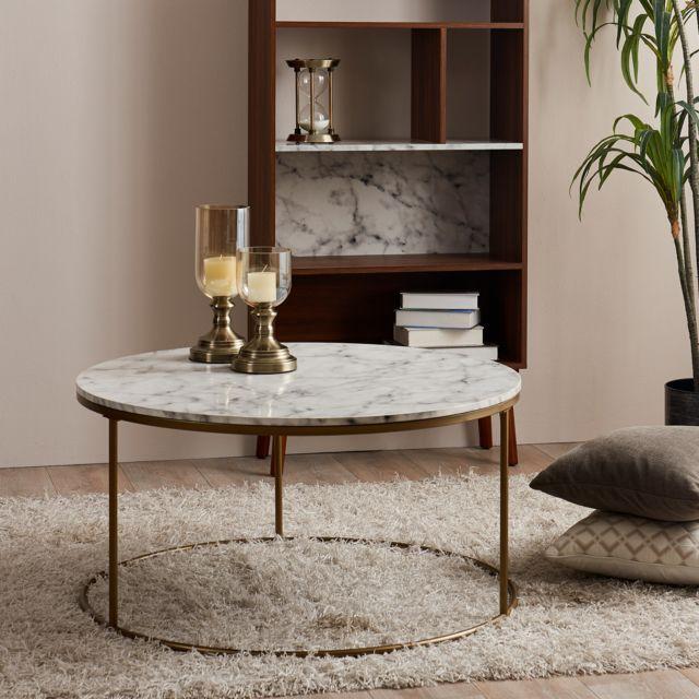 VERSANORA Table basse ronde en bois effet faux marbre pieds métal doré laiton Marmo VNF-00075