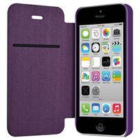 coque housse etui a rabat lateral et porte carte couleur violet pour apple iphone 5c film de protection