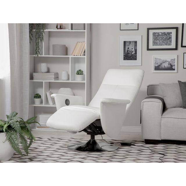 BELIANI Fauteuil en simili-cuir blanc PRIME - blanc