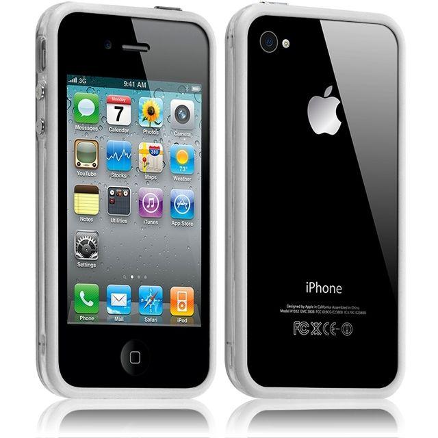 housse etui coque bumper pour apple iphone 44s couleur blanc