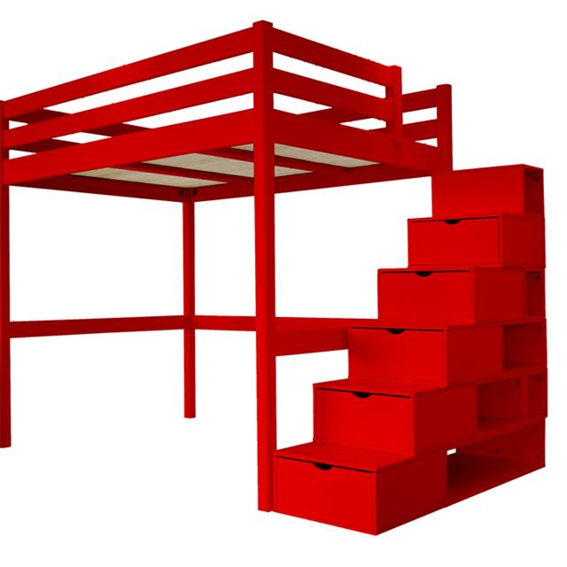 Abc Meubles Lit Mezzanine Sylvia Avec Escalier Cube Pin Massif