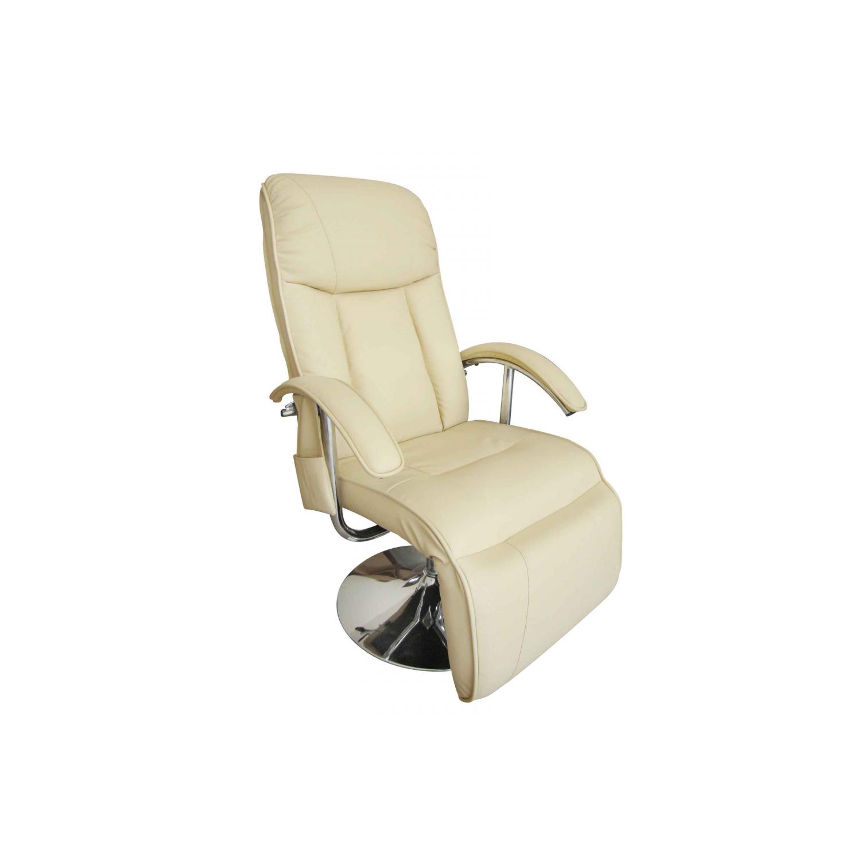Vidaxl Fauteuil de massage et relaxation électrique blanc crème