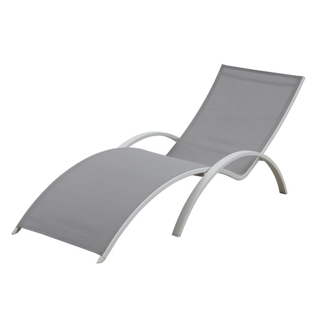 carrefour - bain de soleil textilène vague gris - pas cher achat