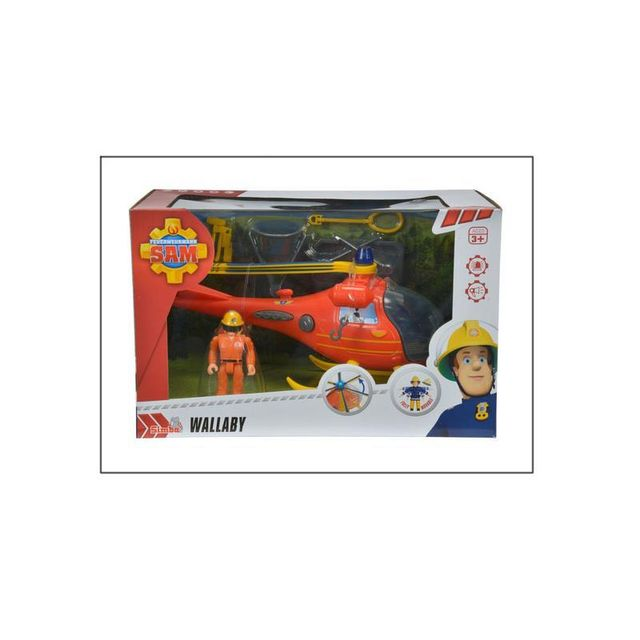 Simba Toys 109251661 Sam le Pompier - Hélicoptère Wallaby - avec figurine