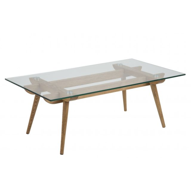HELLIN Table basse moderne en bois et verre PAIXA