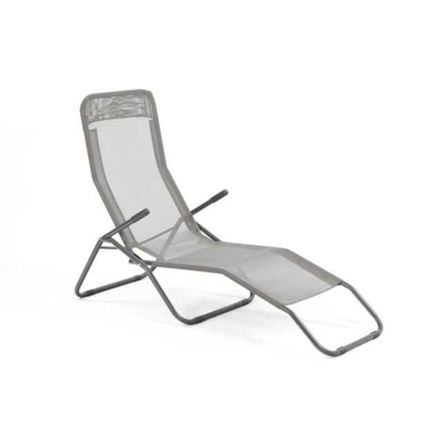 Hespéride Transat / Chaise longue Siesta - Métal époxy et toile - Gris clair