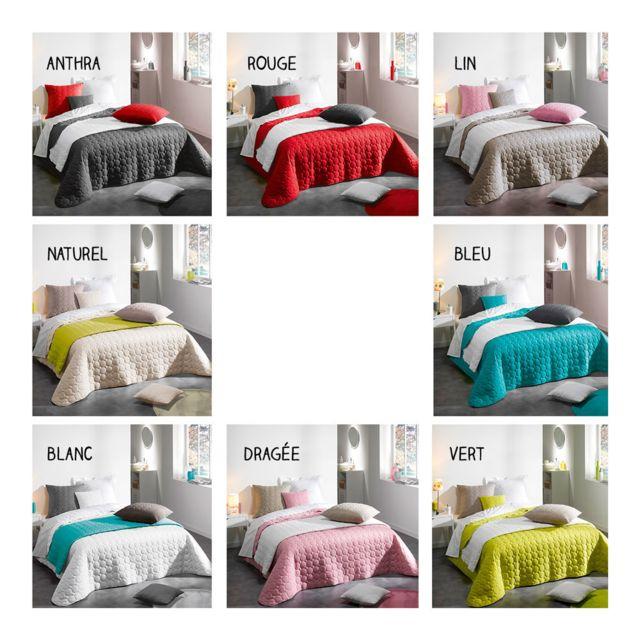 sans marque boutis couvre lit 220 x 240 cm candy diff rents coloris naturel pas. Black Bedroom Furniture Sets. Home Design Ideas