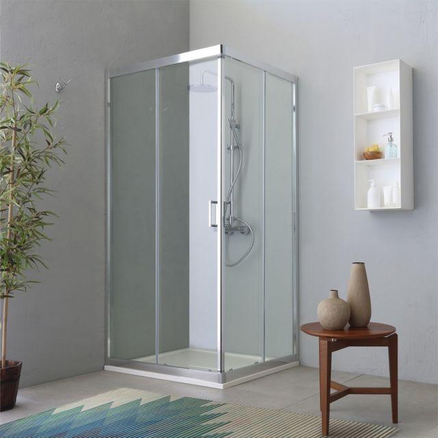 kiamami valentina cabine angulaire pour douche deux portes coulissantes transparente 80x100. Black Bedroom Furniture Sets. Home Design Ideas