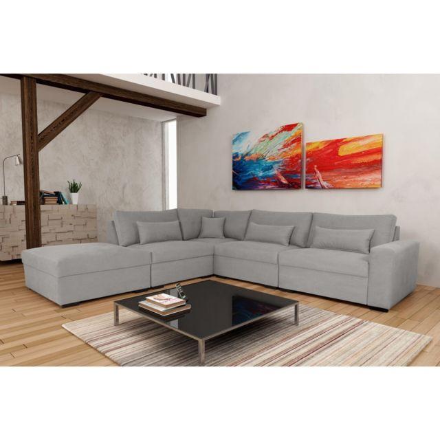 Rocambolesk Canapé Mykonos P1A11B Denim 804 Gris angle gauche sofa divan