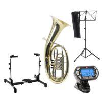 Classic Cantabile - Brass B-3146 Bariton Set avec stand de baryton, accordeur et pupitre