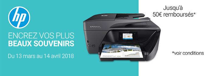 Jusqu'à 50€ remboursés sur une sélection d'imprimantes HP !
