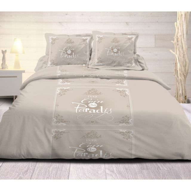 univers decor parure de couette 3 pi ces coin de paradis taupe 100 coton 57 fils cm pas. Black Bedroom Furniture Sets. Home Design Ideas