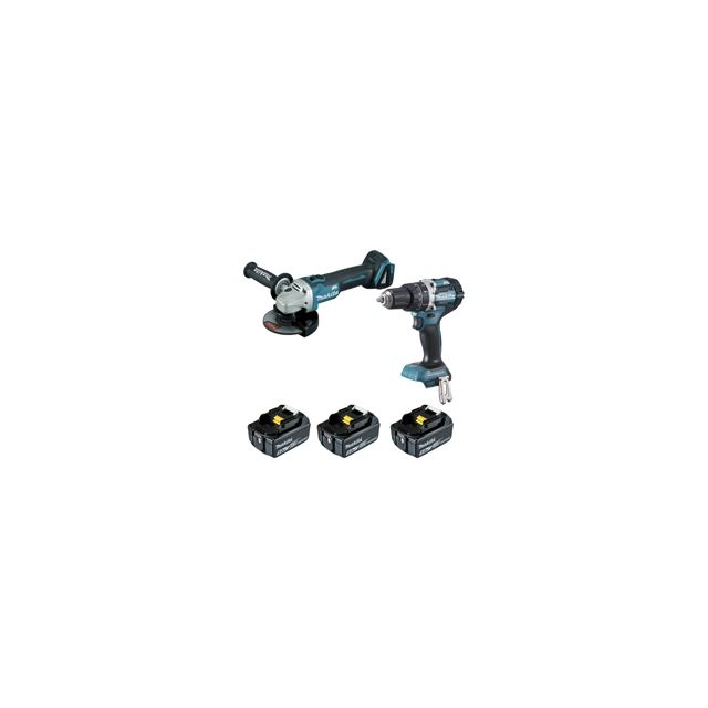 makita pack 2 machines 18v 5ah perceuse visseuse percussion dhp484 meuleuse dga506. Black Bedroom Furniture Sets. Home Design Ideas