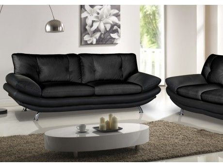 Canapé 3 places en simili FORREST - Noir
