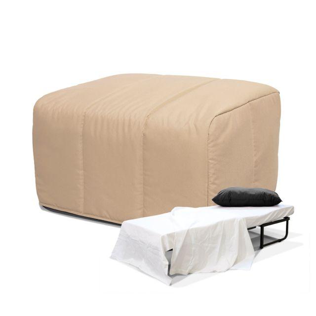 g n rique lit pliant convertible pouf beige pas. Black Bedroom Furniture Sets. Home Design Ideas