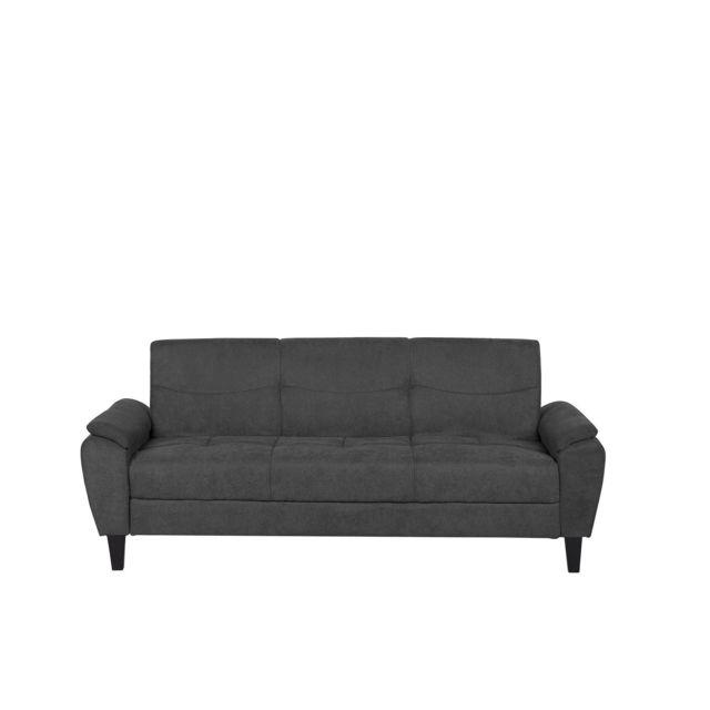 BELIANI Canapé-lit en tissu gris foncé HALMSTAD - noir