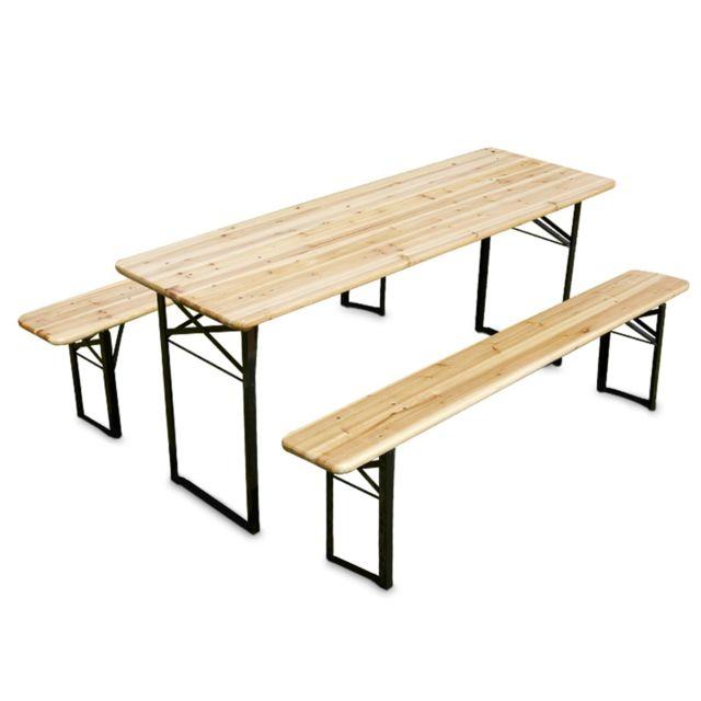 mobeventpro ensemble table et bancs brasserie pique nique en bois 8 places pas cher achat. Black Bedroom Furniture Sets. Home Design Ideas