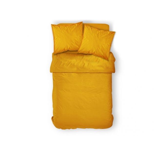 TODAY - Parure de couette Safran jaune 240x220cm + 2 taies d'oreillers + drap housse 220cm x 240 cm