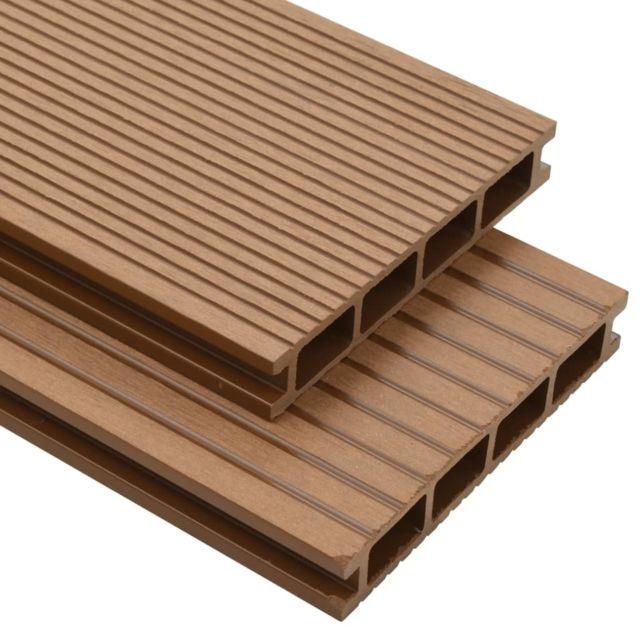 Vidaxl Panneaux de terrasse creux et accessoires Wpc 10 m² 4 m Teck   Brun - Matériaux de construction - Tapis et revêtements d