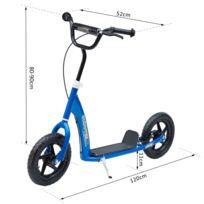 HOMCOM - Trottinette patinette enfants à partir de 5 ans pneus 30 cm guidon réglable poignée frein et béquille acier bleu neuf 19