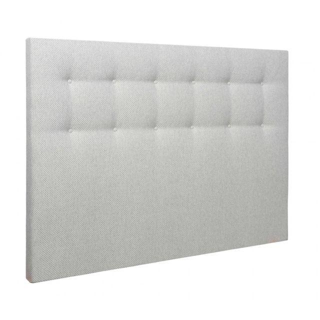 SOMEO Tête de lit déco capitonnée jacquard gris blanc 140