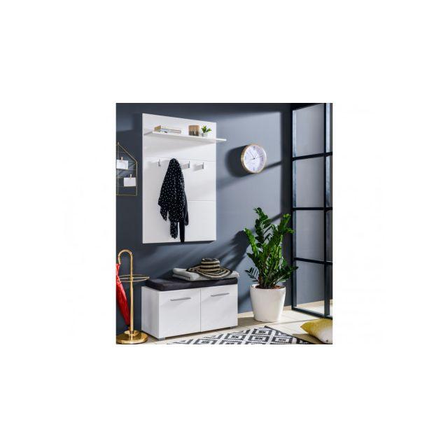 MARQUE GENERIQUE - Vestiaire LEONEL - 2 portes   1 étagère - MDF - Blanc 6394f8e0e99