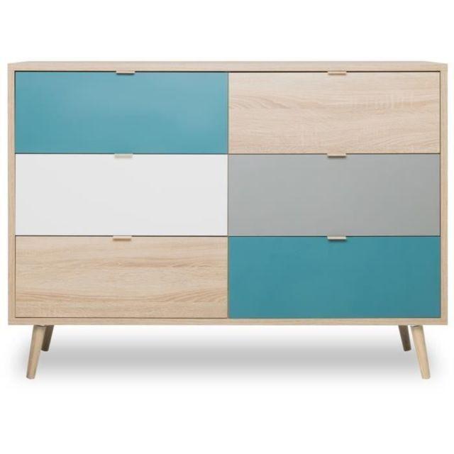 COMMODE DE CHAMBRE CUBA Commode 6 tiroirs - Style scandinave - Décor chene Sonoma - L 120 x P 40 x H 87 cm