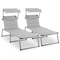 BLUMFELDT - Amalfi Set transat 2 chaises longues rembourrées Tubes d'acier - beige