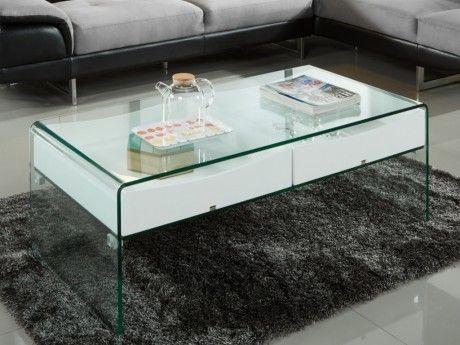 Vente-unique Table basse Abby - 2 tiroirs - Mdf laqué & verre trempé - Coloris blanc