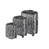 MARQUE GENERIQUE - CITY - Lot de 3 valises ABS - Imprimé - ABSPR17-02-BLACK