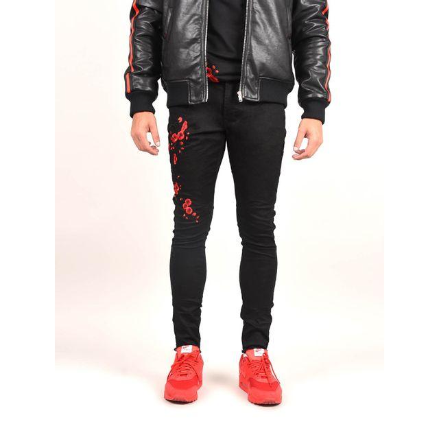 fc3cfb668b5fc Project X - Jean skinny zippé fleur de cerisier brodé homme Paris, Taille   36, Couleur  Noir 34 - pas cher Achat   Vente Jeans homme - RueDuCommerce