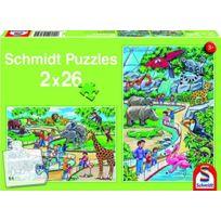 Schmidt Spiele - 56132 - Puzzle Classique - JournÉE Au Zoo - 2 X 26 PiÈCES