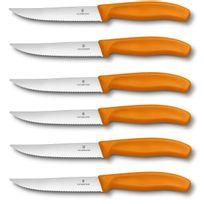 Victorinox - 6 Couteaux à steak lame crantée 12cm manche orange