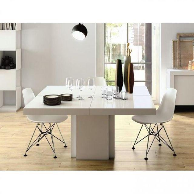 Inside 75 Table repas Dusk 150 x 150 cm blanche brillante