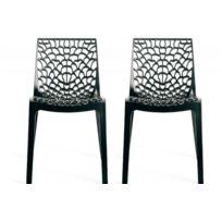 Declikdeco - Lot de 2 Chaises Design Anthracite Gruyer Opaque