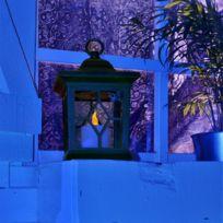 Leblanc Illumination - Lanterne solaire noire bougie Led flamme vacillante