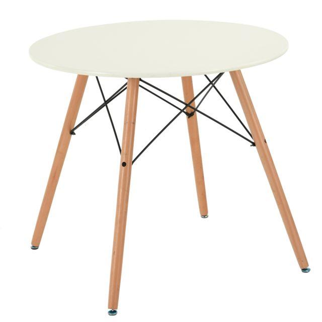 Sans Marque Furnish1 Table Ronde 80cm Salle à manger Cuisine Peinture Blanche Panneau Bois massif Tendance Scandinave Design