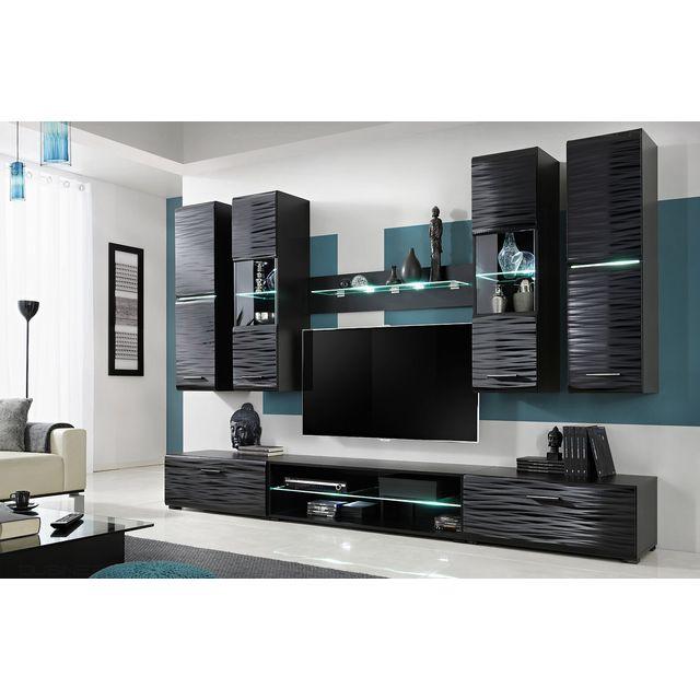 Dusine Ninja Ensemble meuble Effet 3D Led 280 cm pour Hifi et Tele