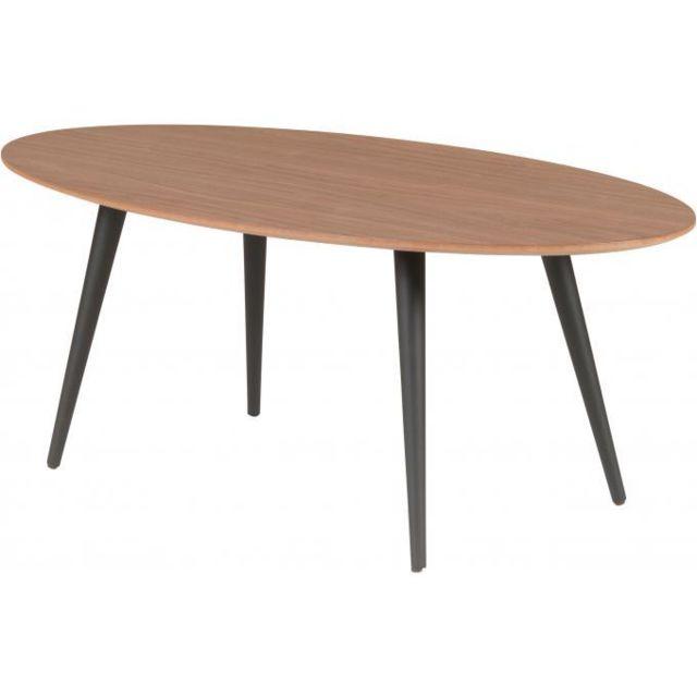 Declikdeco Table Basse Ovale Beige Piétement en Bois Noir Zola